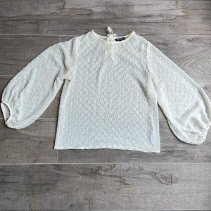 George puff balloon sleeve transparent blouse